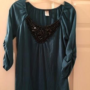 Tops - Teal top with black netting & stones